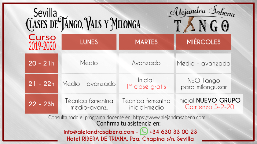 Horario Clases Habituales Tango Sevilla